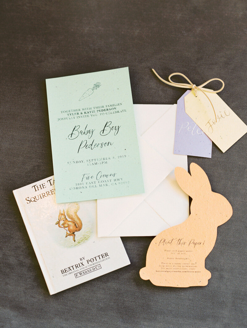 pirouettepaper.com _ Wedding Stationery, Signage and Invitations _ Pirouette Paper Company _ Beatrix Potter Peter Rabbit Baby Shower _ Mallory Dawn Photography  (3)