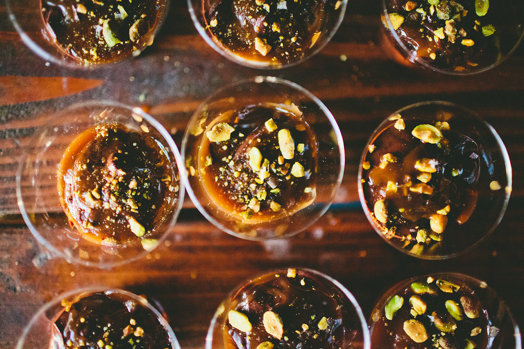 Chocolate and pistachio pudding dessert cups for casual dinner party with Local Table