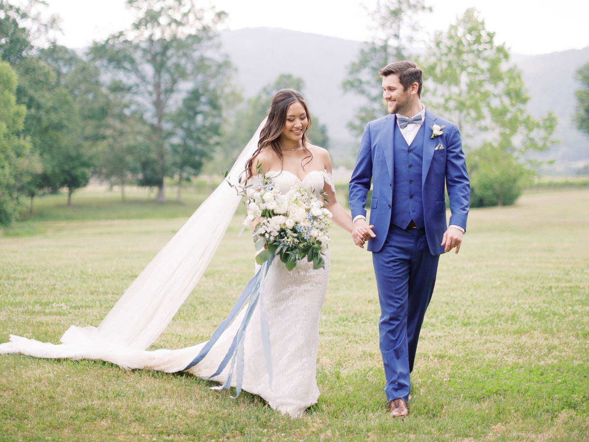 Pastel blue wedding at Veritas Winery in Charlottesville, Virginia.