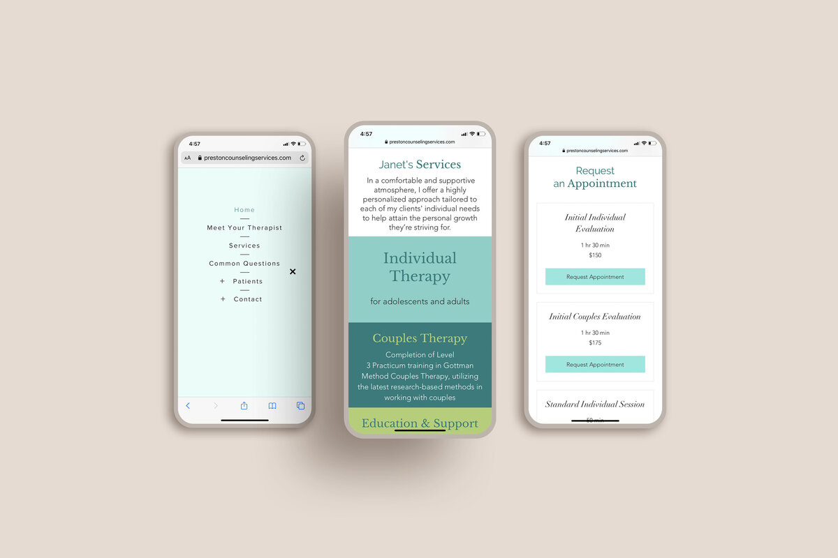 Preston counseling site 3 phone mockup