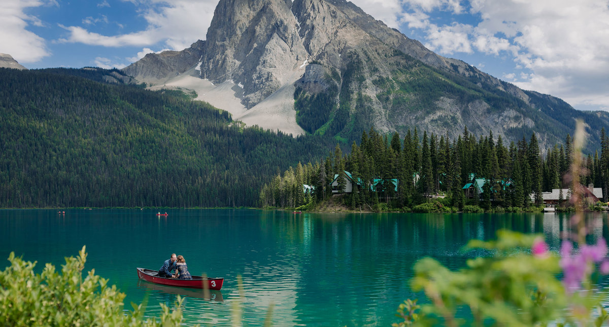 emerald lake elopement engagement canoe ride wedding