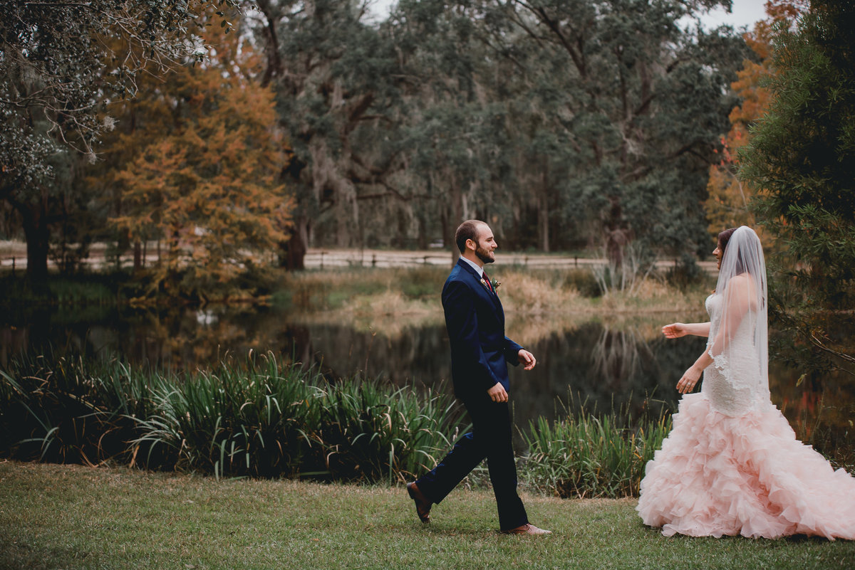 Brother sees bride for the first time at Southern Pines wedding venue in Lake City, Fl.