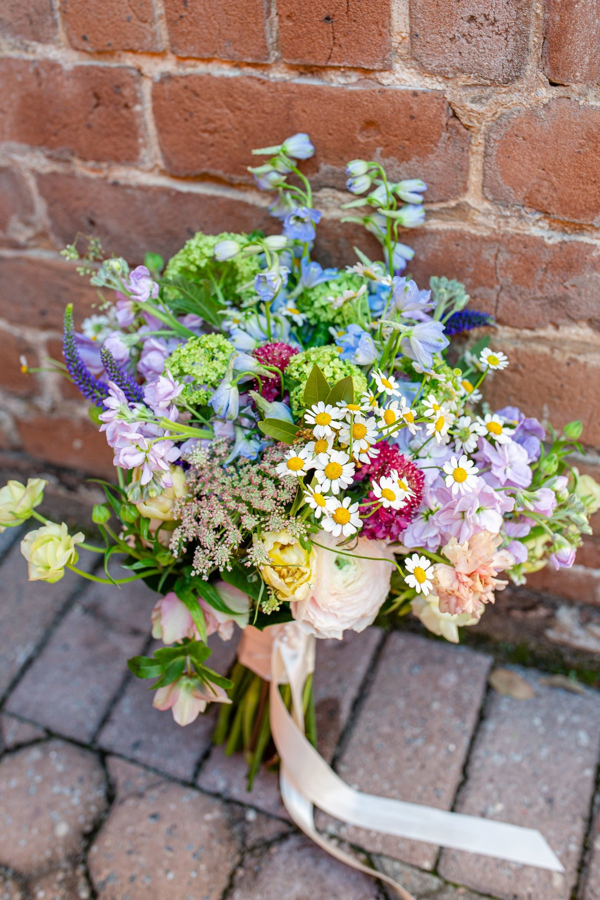 flowers for wedding with brick background