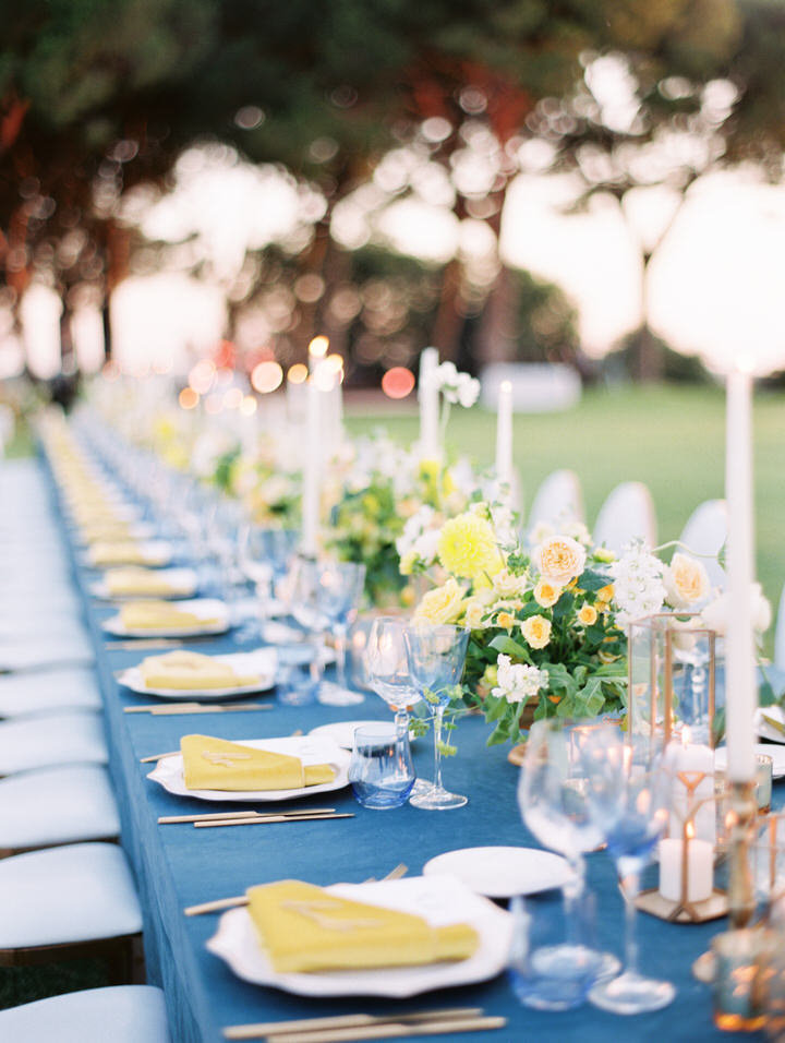 blue and yellow wedding decor