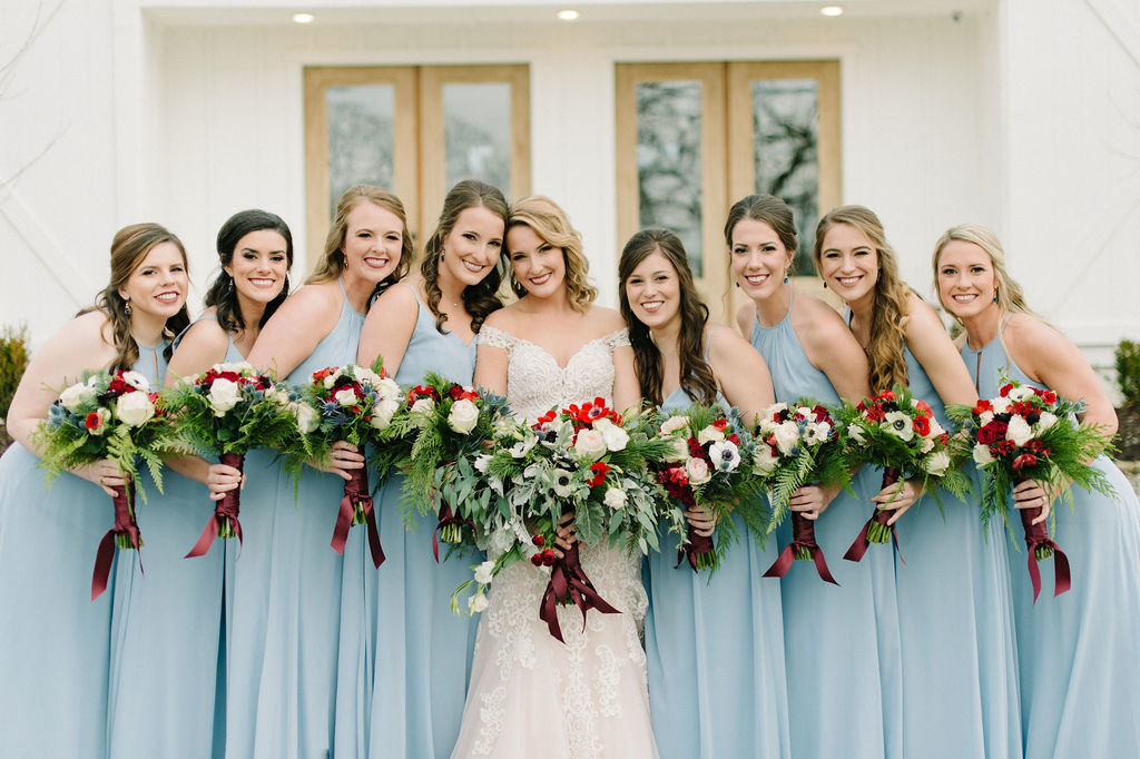 Light Blue Wedding Bridesmaids Dresses / Tyler Rosenthal Photography