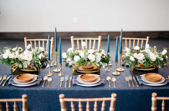 modern white and blue tablescape