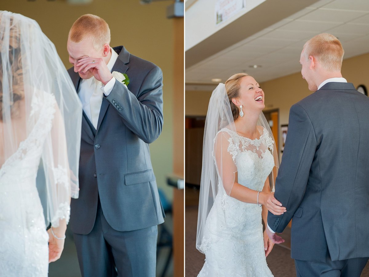 Fargo photographer Kris Kandel captured a great first look between a bride and groom.