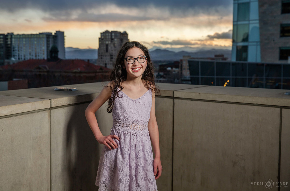 Pretty Bat Mitzvah Portrait on the outdoor deck at History Colorado