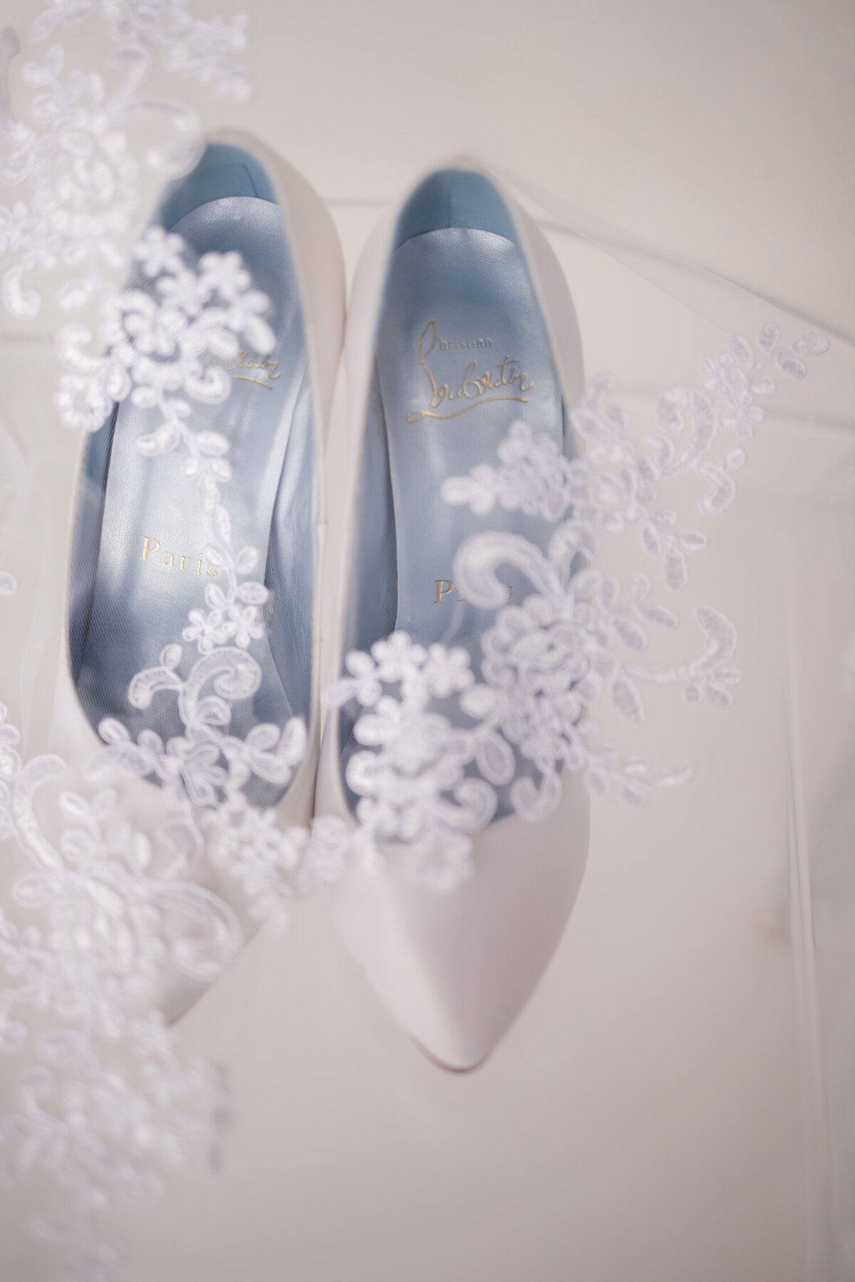 Louboutin Wedding Shoes & French Lace Veil Wedding Detail Shot