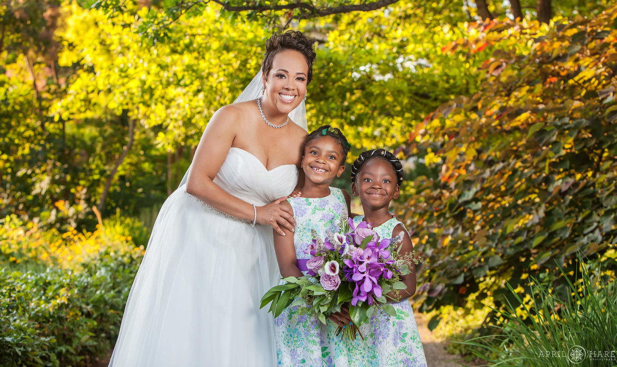 Bride with her flower girls at Denver Botanic Gardens in Colorado