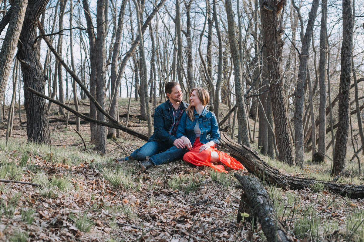 Missoula engagement session outside in woods