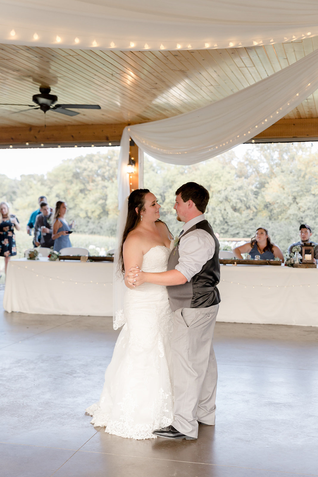 First dance together as bride and groom at Ridgetop in Prescott Wisconsin