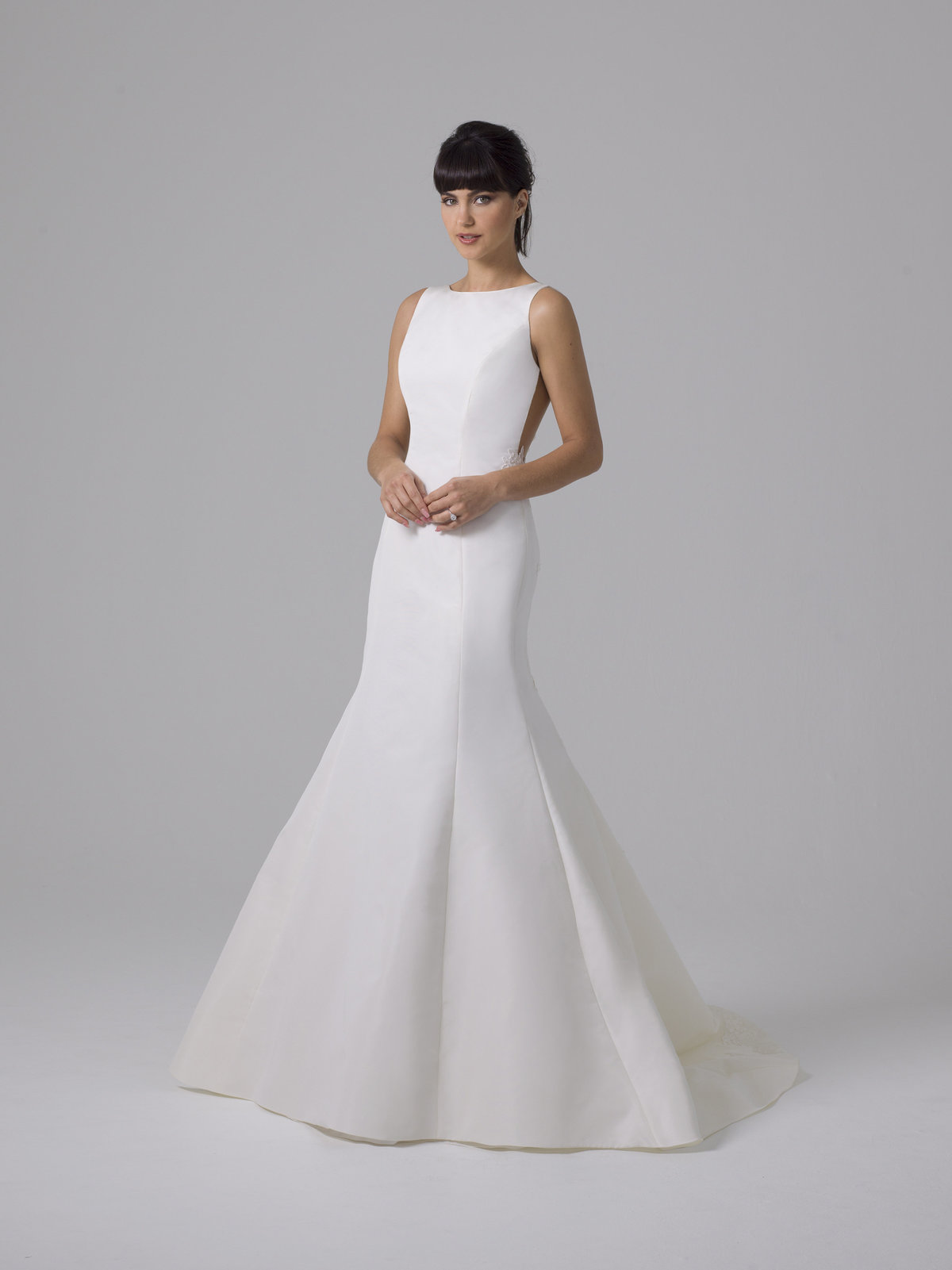 Liancarlo Mikado Boat Neck with Lace Back Wedding Dress