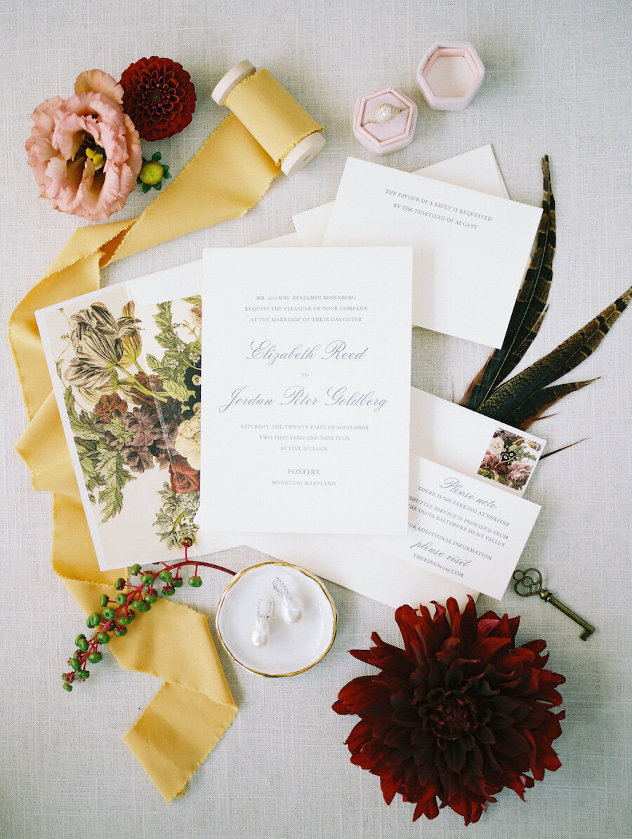 Classic Wedding Invitations with Floral Liner Robert Aveau for © Bonnie Sen Photography
