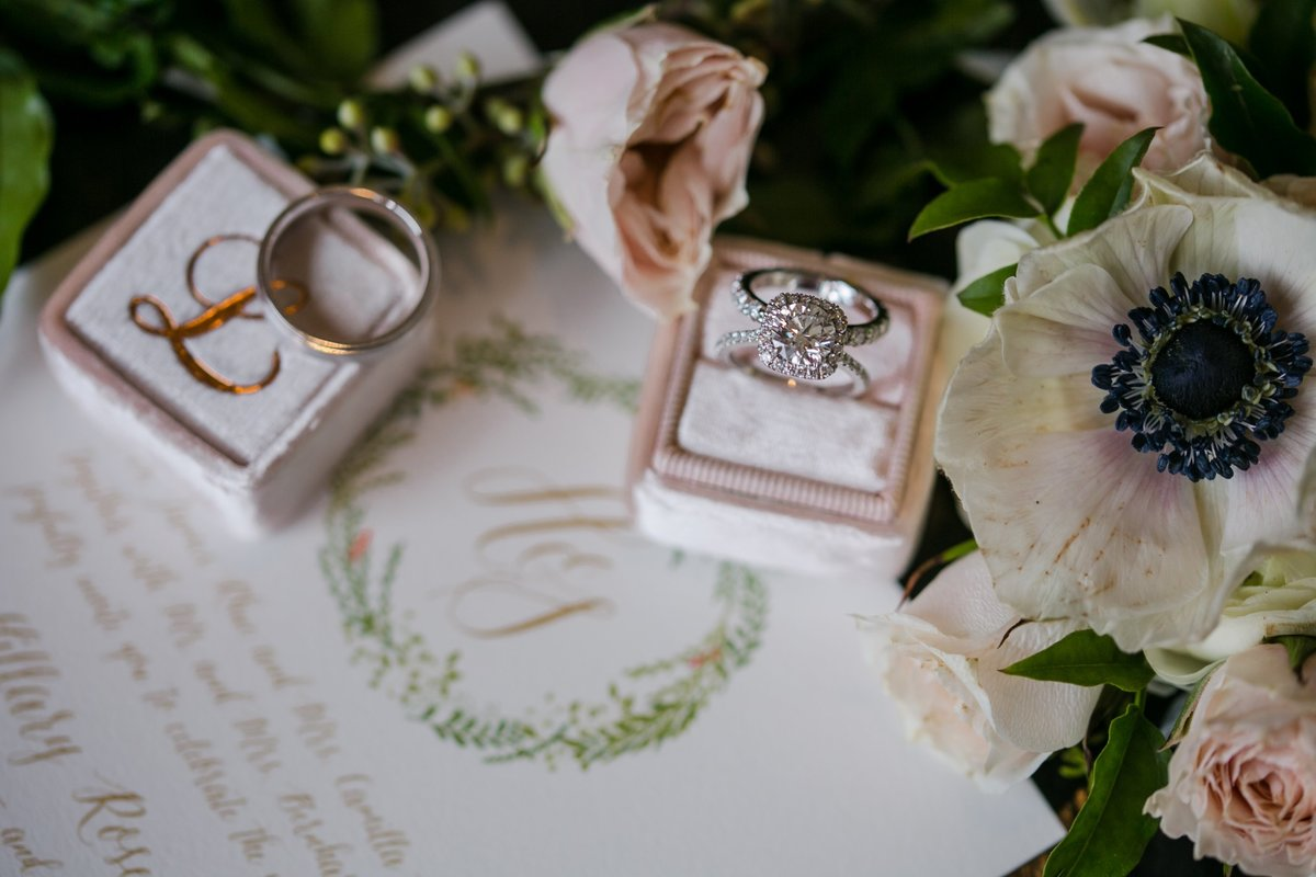 Mrs ring box with invitation and flowers