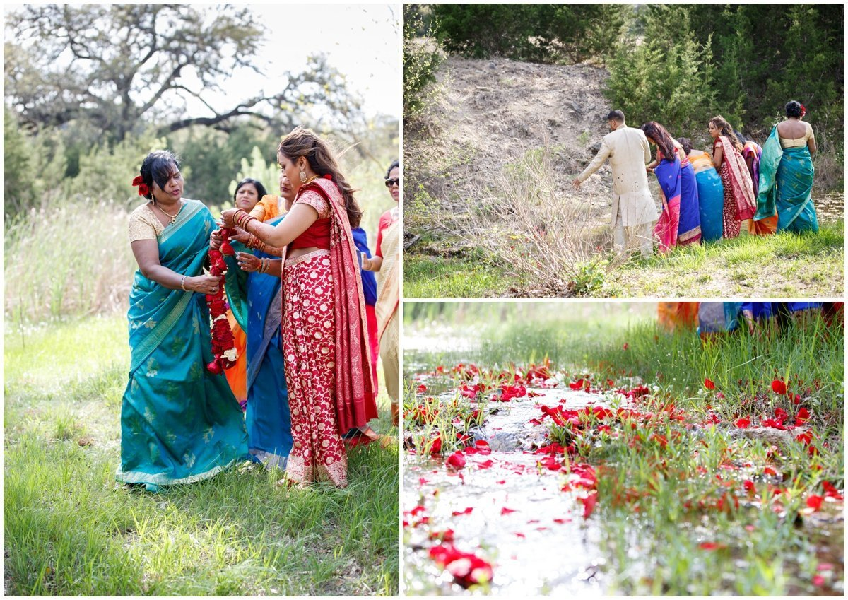 Austin wedding photographer pecan springs ranch wedding photographer Indian tradition roses water