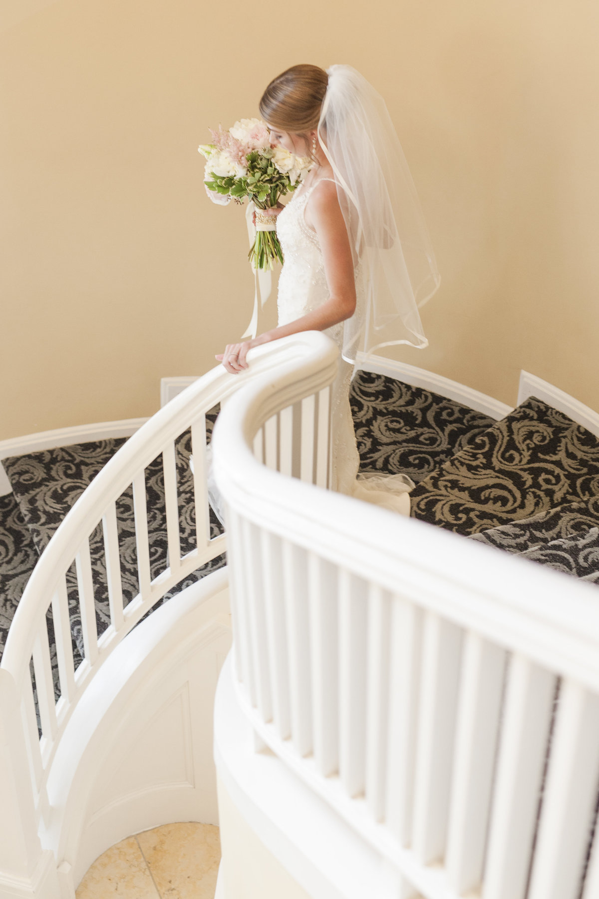 Skagit Wedding Photographer Majestic Inn and Spa Bride on stairs