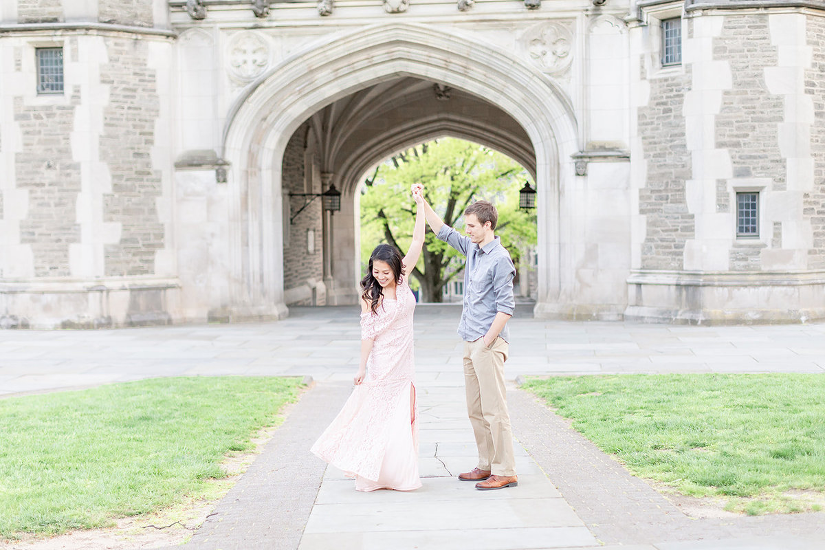 Princeton University engagement photo idea in spring