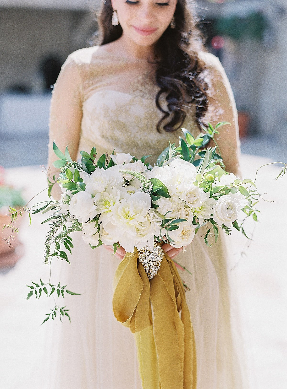 Posh Peony Mission Inn Lush Gray and Gold Greenery Wedding Flowers_0017