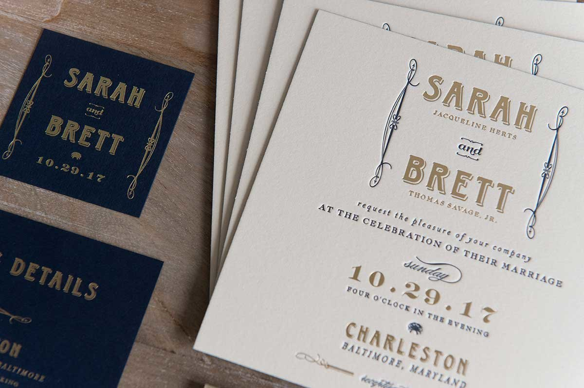 SarahBrett-Invitation-Letterpress-GoldFoil-Charleston.Baltimore