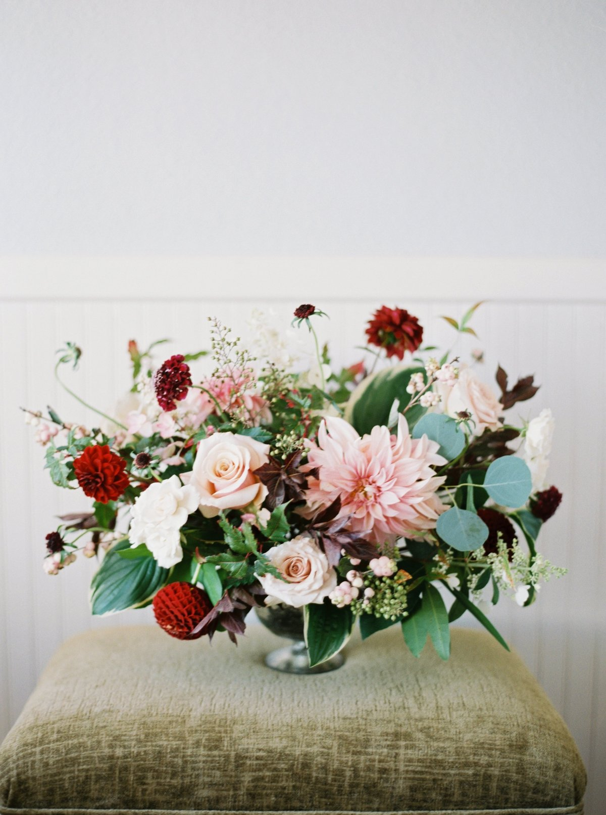 red and pink centerpiece