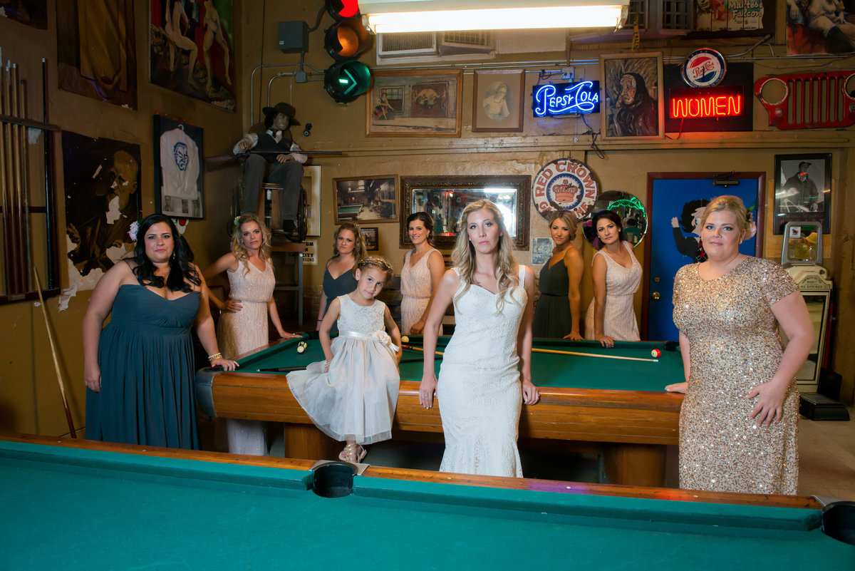bride and bridemaids at lute's  casino