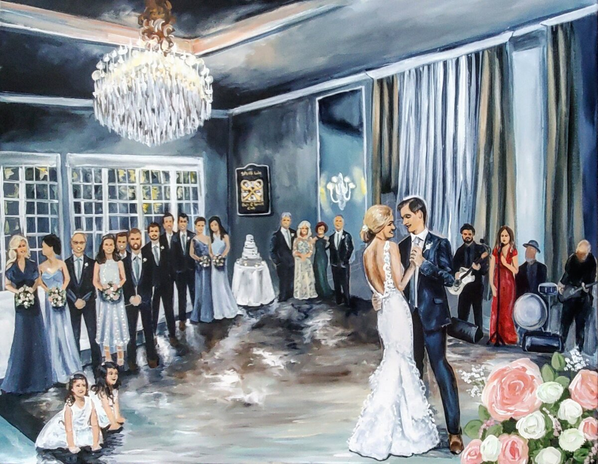 Live painting of a bride and groom sharing their first dance at the Spring Lake Bath and Tennis Club in Spring Lake New Jersey