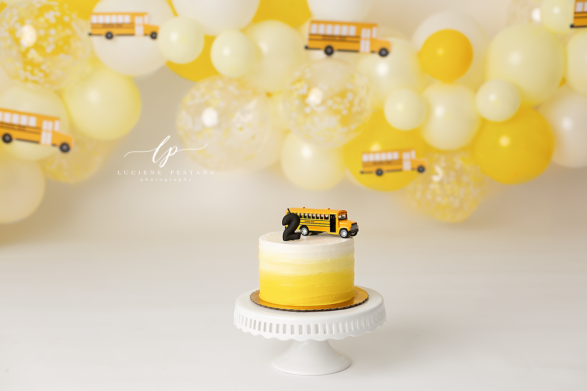 school bus cake smash - ct baby photographer