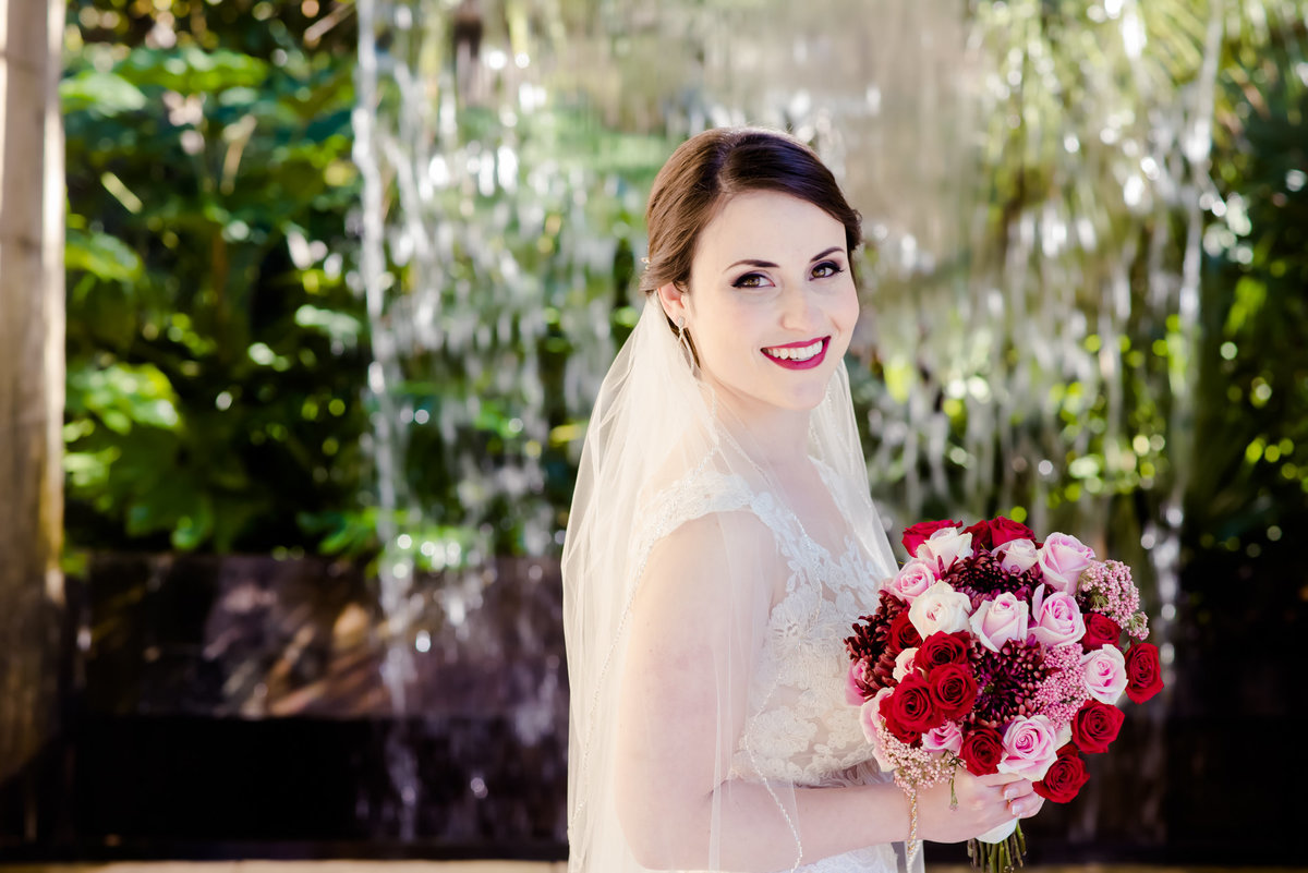 Dallas arboretum bridal by water wall
