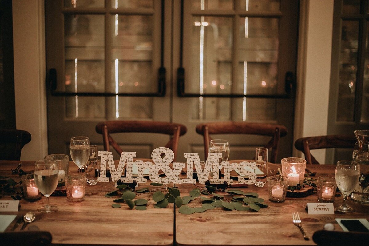 bride and groom's table setting candles doors closed evening glow
