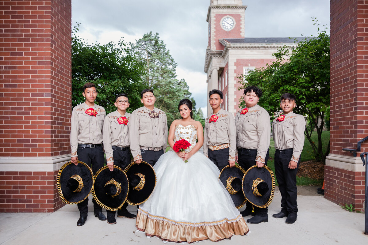 Maira Ochoa Photography, Beautiful Quinceanrea, Mariachi theme in University of St Mary of the Lake, Mundelein, IL, Chambelanes charros portraits_-16