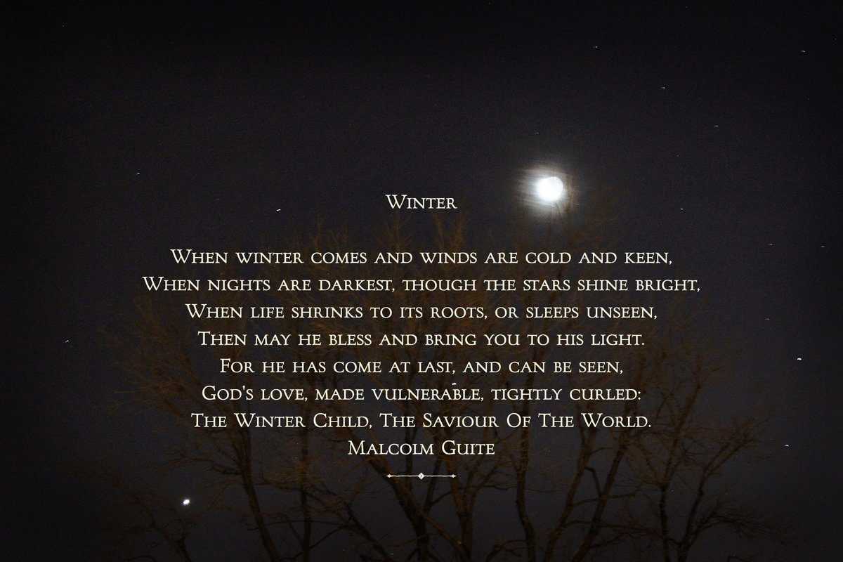 Winter Benediction - Winter Moon 1 with stars and trees v2