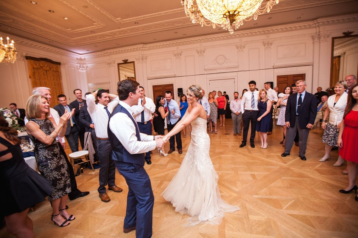 Guests surround Bride and Groom on the dance floor