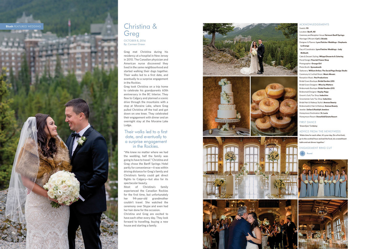 Blush Mag Christina and Greg 2016 wedding featured in 2017 spring online issue