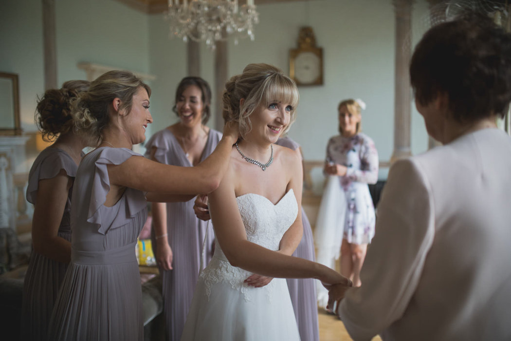 Bridal prep at Rockbeare Manor Devon