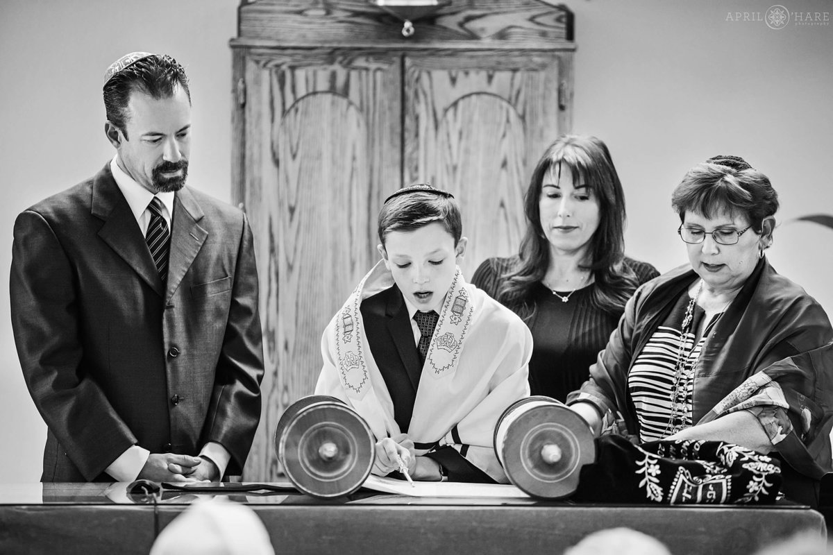 B&W Bar Mitzvah Photo with the Torah at B'nai Chaim in Lakewood Colorado