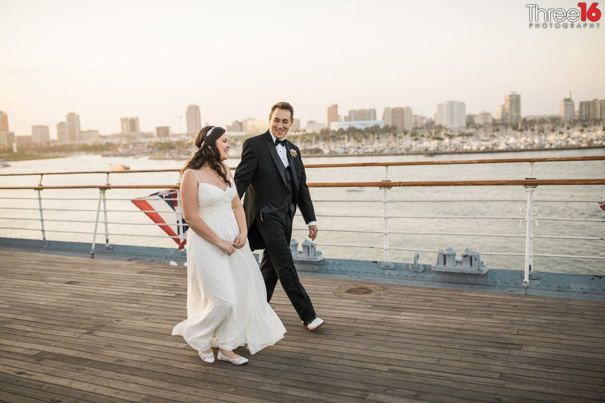 Bride and Groom go for a walk together