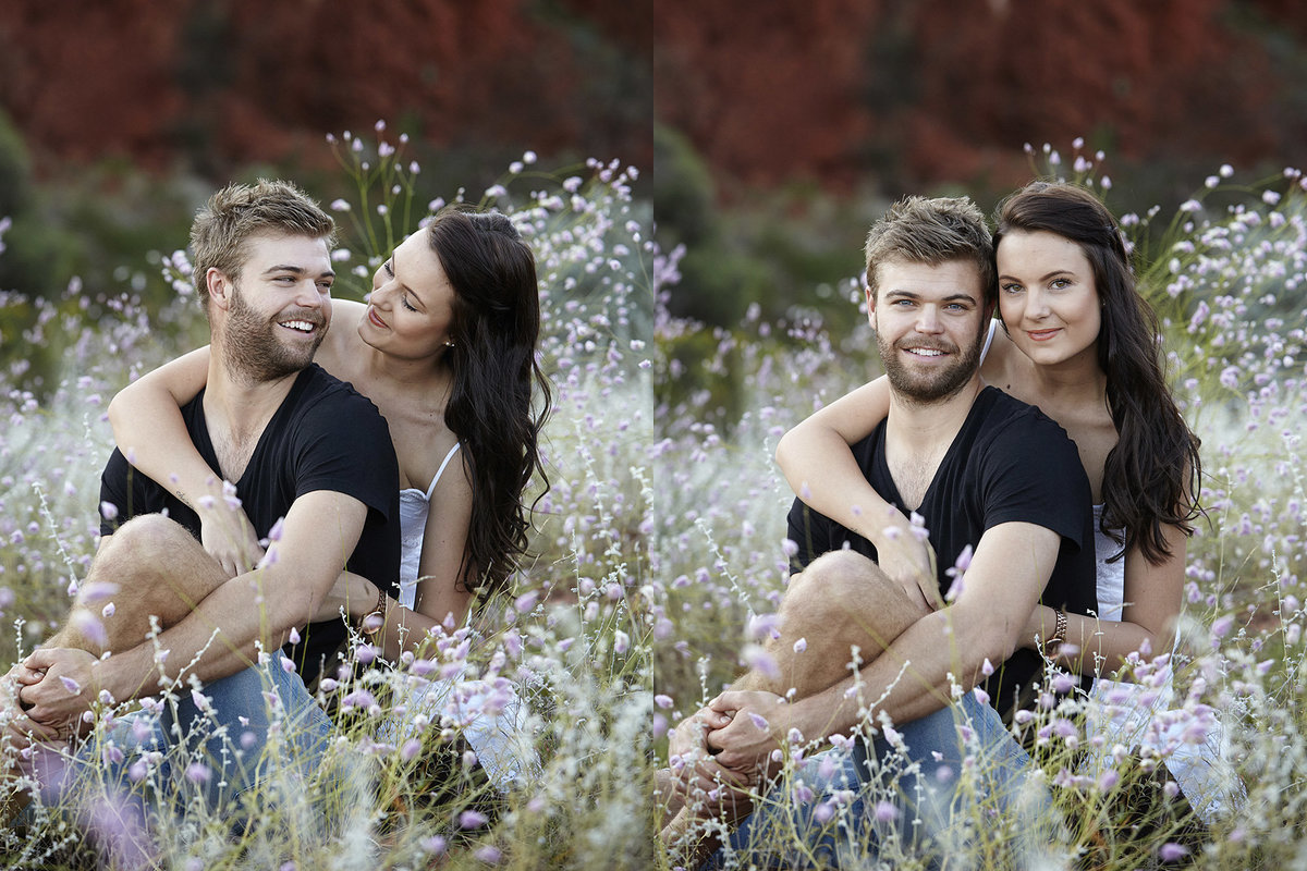 Two images of a couple embracing each other and looking at the camera smiling in natural bushalnd