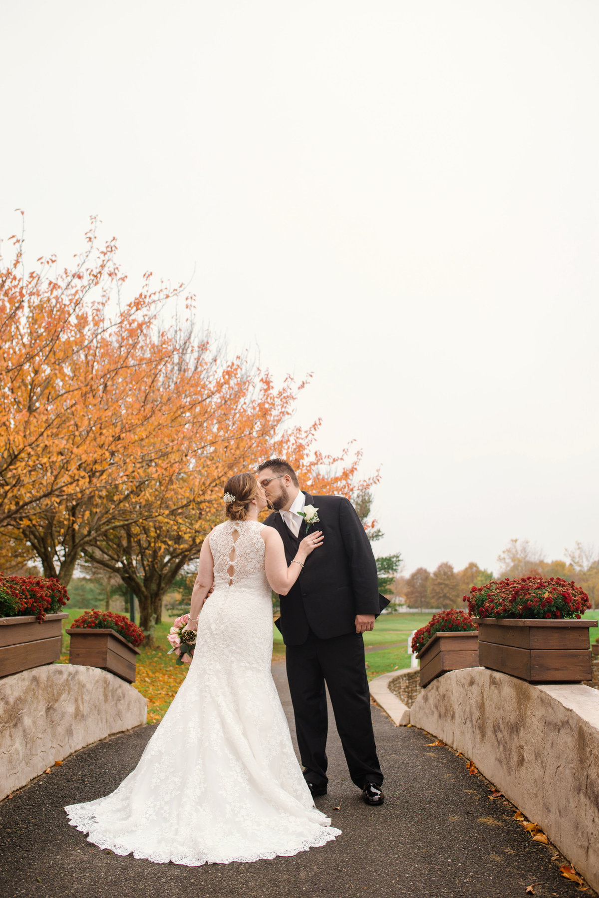 bride and groom photo outside Willow Creek Golf and Country Club