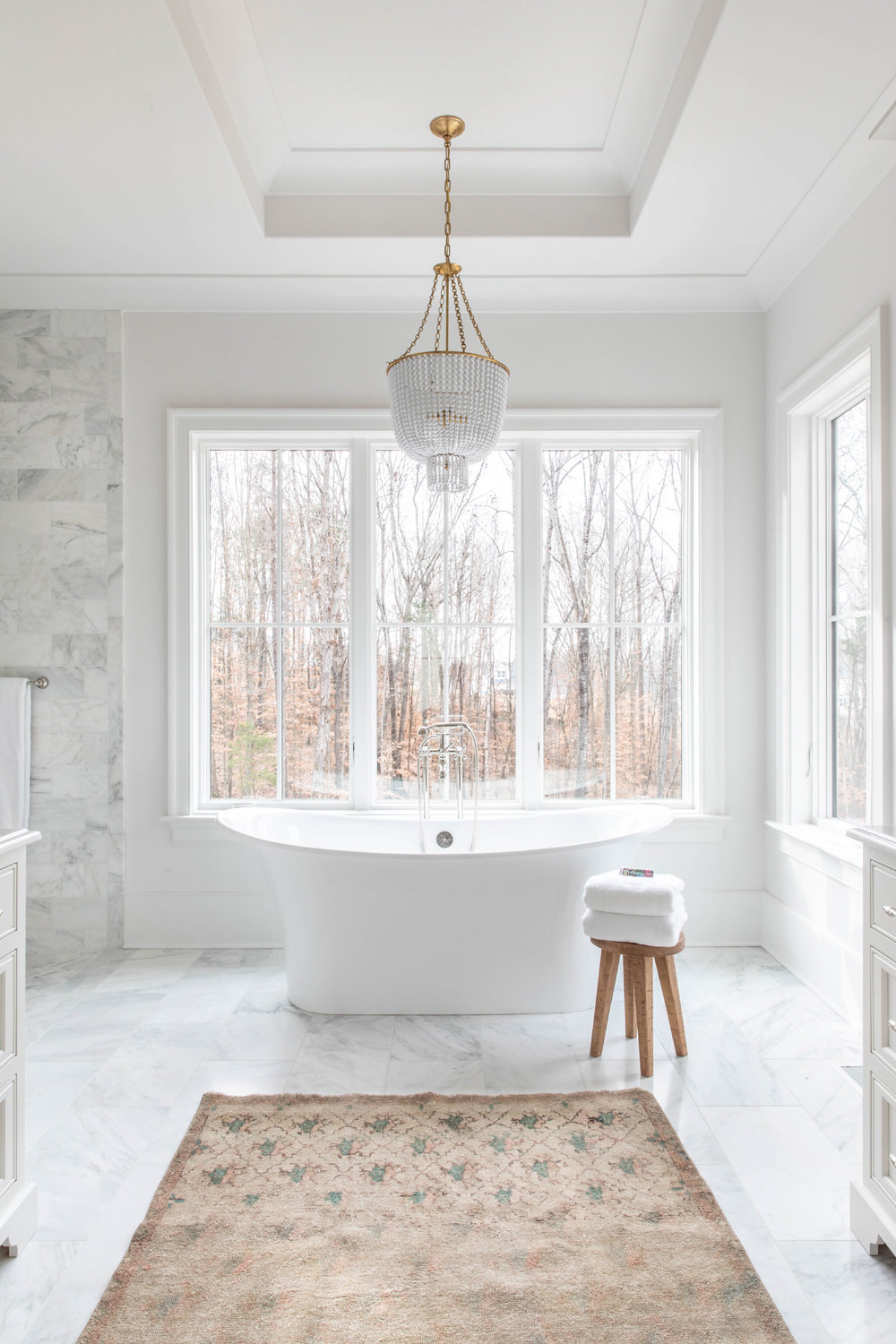 White-Carrara-Marble-Master-Bathroom-with-Soaking-Tub-1