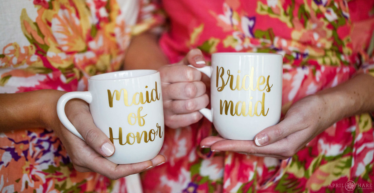 Steamboat Springs Wedding Photographer custom printed coffee mugs with floral bridesmaid robes