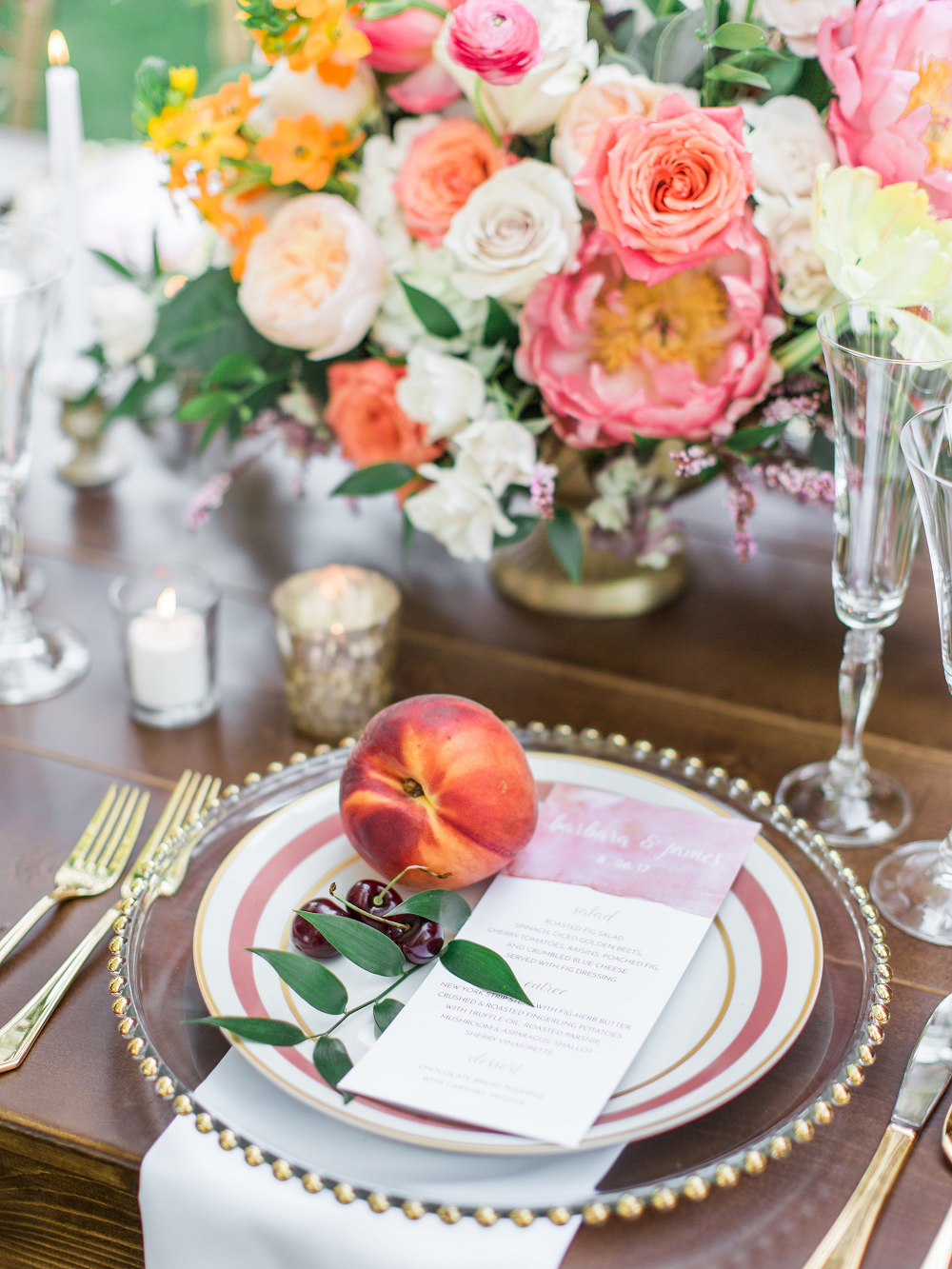 Whimsical Summer Wedding Styled Shoot at Henderson Castle Featured in WeddingDay Magazine Peach and Cherries