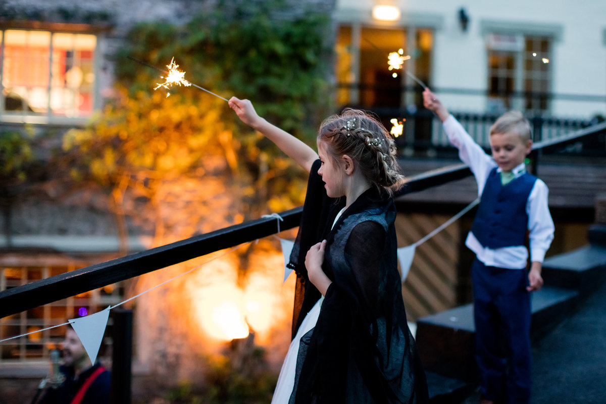 flower girl and page boy sparklers at bickley mill