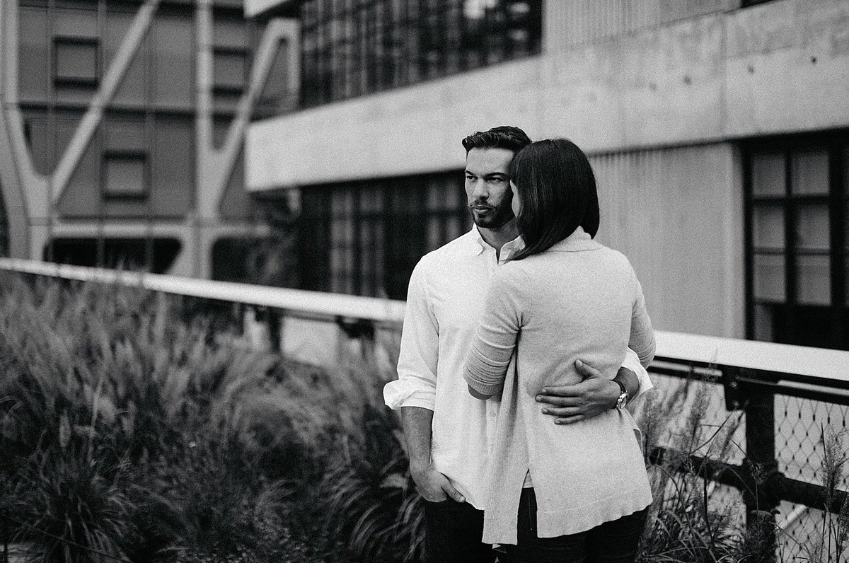 black and white couple engagement highline