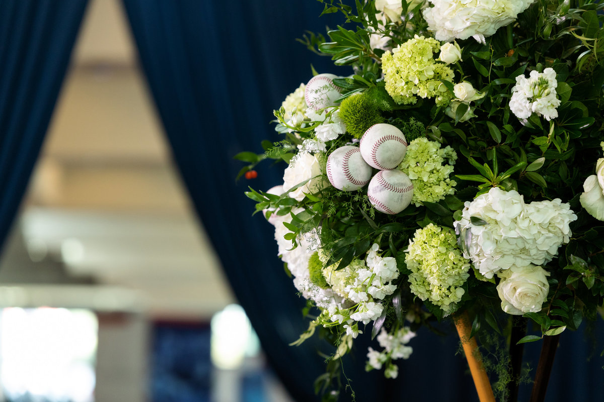 Baseball Centerpiece Sport Gala Flowers