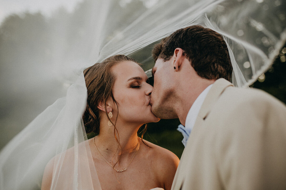 Outdoor Wedding Kiss