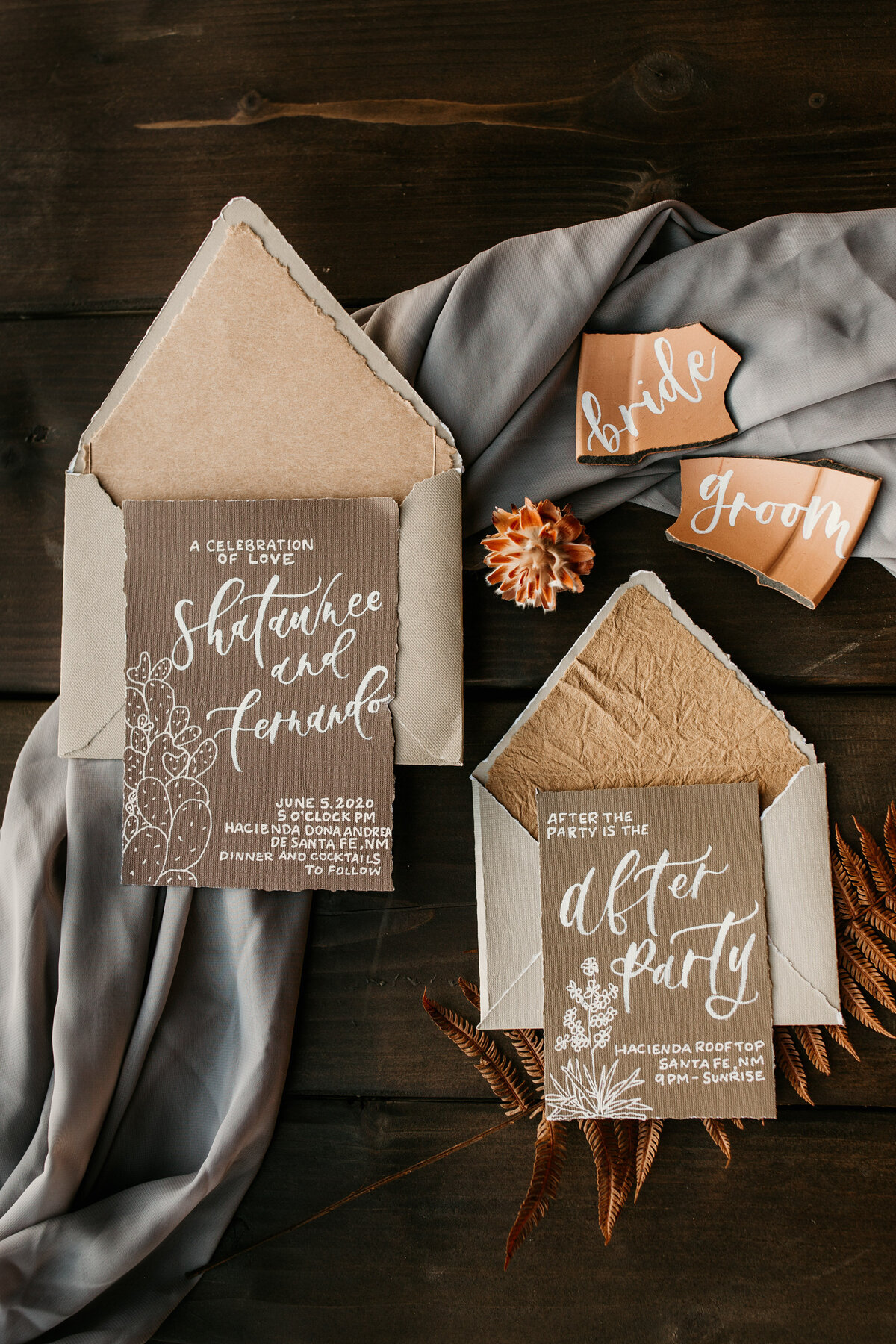 flatlay of southwest wedding stationary