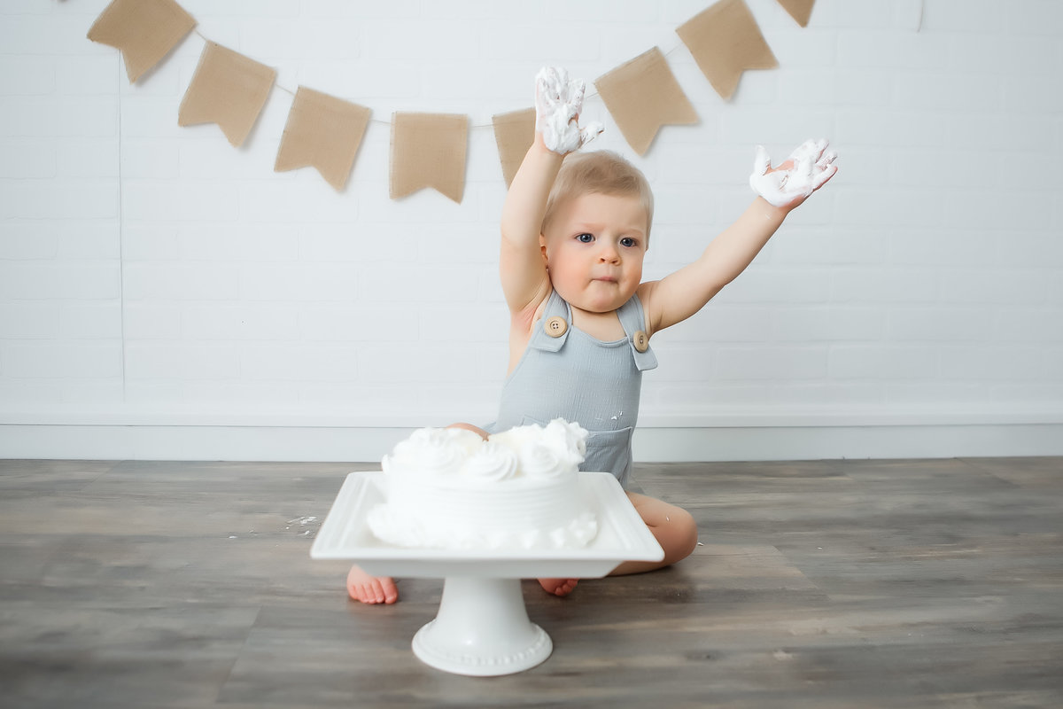 baby boy with birthday cake {Oakville Baby Photographer}