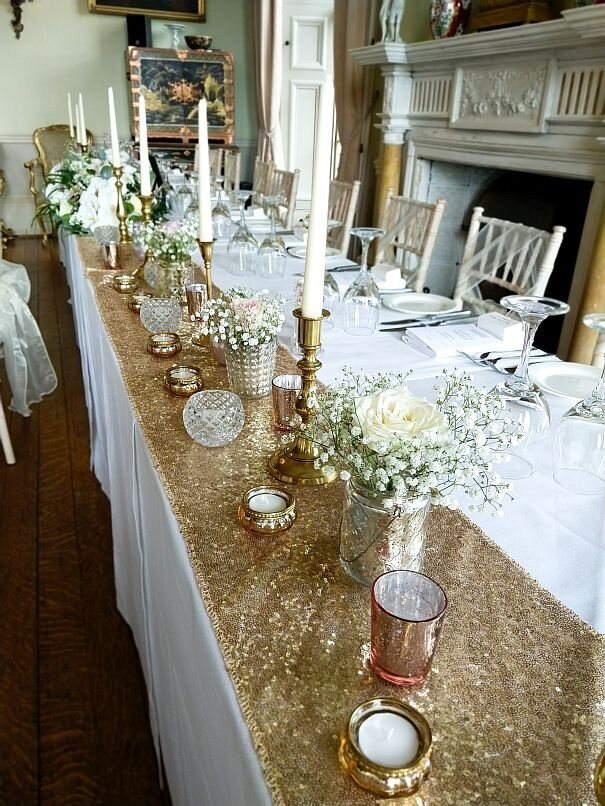 Gold candelabra sequin pearl wedding 8