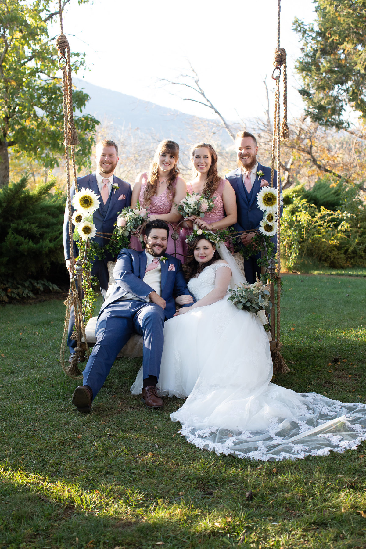 bridal party on swing